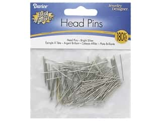 "Darice Head Pin 1"" Bright Silver 180pc"