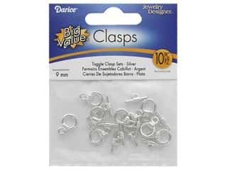 beading & jewelry making supplies: Darice Toggle Clasp Set 9mm Silver 10pc