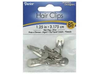 "Darice Hair Clip Snap On 1.25"" Silver 8pc"