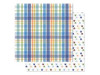 "Echo Park Collection Baby Boy Paper 12""x 12"" Newborn Plaid (25 pieces)"
