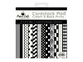 "Paper Cafe Cardstock Pad 6""x 6"" Cream & Black Prints"