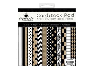 "Paper Cafe Cardstock Pad 6""x 6"" Kraft & Cream Black Prints"