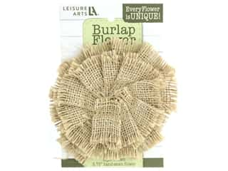 "Leisure Arts Burlap Flower 4"" Natural"