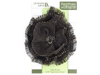 "Leisure Arts Burlap Flower 4"" Dark Chocolate"