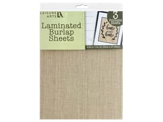 "craft & hobbies: Leisure Arts Burlap Sheet Laminated 8.5""x 11"" Nat 3pc"