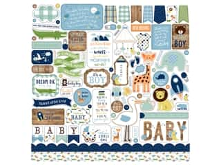 Echo Park Collection Baby Boy Sticker 12 in. x 12 in. Elements (15 pieces)