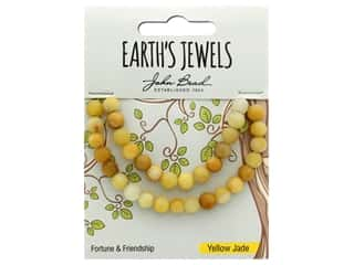 John Bead Semi Precious Bead Earth's Jewels Yellow Jade 6mm Round Matte Natural 8""