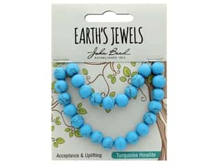 John Bead Semi Precious Bead Earth's Jewels Turquoise Howlite 8mm Round Matte 8""