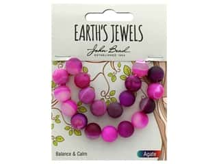 craft & hobbies: John Bead Semi Precious Bead Earth's Jewels Pink Agate 10mm Round Matte 8""