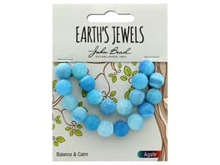 John Bead Semi Precious Bead Earth's Jewels Blue Agate 10mm Round Matte 8""
