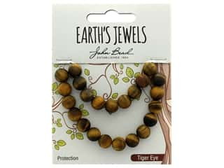 John Bead Semi Precious Bead Earth's Jewels Tiger Eye 8mm Round Matte Natural 8""