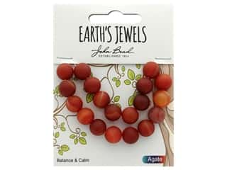 John Bead Semi Precious Bead Earth's Jewels Red Agate 10mm Round Matte 8""