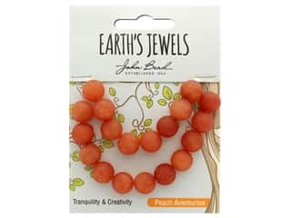 John Bead Semi Precious Bead Earth's Jewels Peach Adventurine 10mm Round Matte 8""