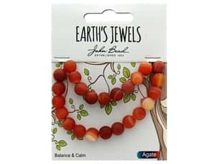 John Bead Semi Precious Bead Earth's Jewels Red Agate 8mm Round Matte 8""