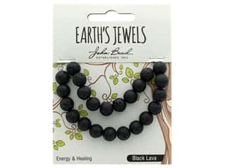 John Bead Semi Precious Bead Earth's Jewels Lava 8mm Round Matte Black Natural 8""