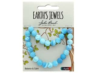 John Bead Semi Precious Bead Earth's Jewels Blue Agate 8mm Round Matte 8""
