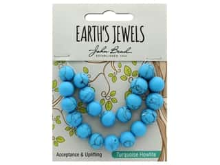 John Bead Semi Precious Bead Earth's Jewels Turquoise Howlite 10mm Round Matte 8""