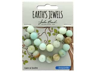 craft & hobbies: John Bead Semi Precious Bead Earth's Jewels Amazonite 10mm Round Matte Natural 8""