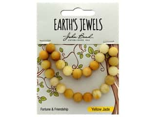 John Bead Semi Precious Bead Earth's Jewels Yellow Jade 8mm Round Matte Natural 8""
