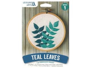 "projects & kits: Leisure Arts Kit Mini Maker Embroidery 4"" Teal Leaves"