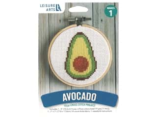 "projects & kits: Leisure Arts Kit Mini Maker Cross Stitch 4"" Avocado"