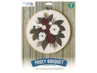 "projects & kits: Leisure Arts Kit Mini Maker Embroidery 8"" Posey Bouquet"