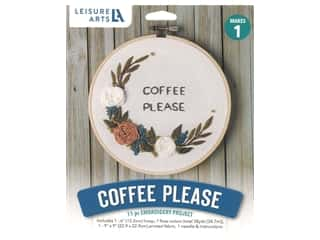 "yarn & needlework: Leisure Arts Kit Mini Maker Embroidery 6"" Coffee Please"