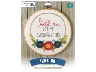 "Leisure Arts Kit Mini Maker Embroidery 8"" Hold On"