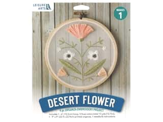 "Leisure Arts Kit Mini Maker Embroidery 6"" Desert Flower"