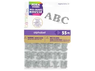 craft & hobbies: Darice Foamies Alphabet Stickers 55 pc. Glitter Silver