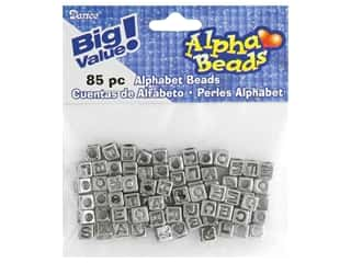 Darice Alphabet Beads 6 mm Cube Silver with Black Letters 85 pc.