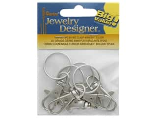 beading & jewelry making supplies: Darice Big Clasp Swivel 40mm Bright Silver 5pc