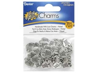 Darice Hand Made With Love Charm Nickel 70pc