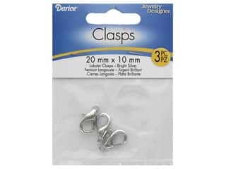 beading & jewelry making supplies: Darice Clasp Lobster 20mm x 10mm Bright Silver 3pc