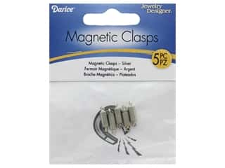 Magnets: Darice Clasp Magnetic Barrel 3mm x 14mm Silver 5pc