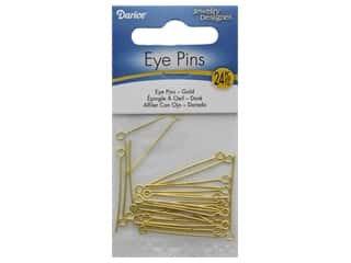 "beading & jewelry making supplies: Darice Eye Pin 1.25"" Gold Plated Brass 24pc"