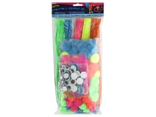 Darice Kit & Pom Pom Kit Neon 300pc