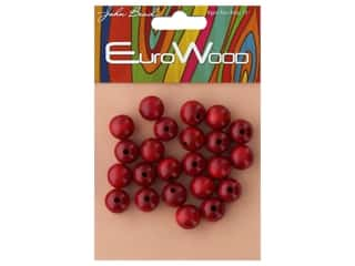 John Bead Wood Bead Euro Wood Round 12mm Red