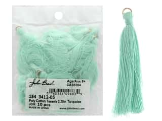 "John Bead Tassel 2.25"" Poly Cotton Turquoise 10pc"