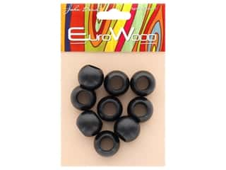 beading & jewelry making supplies: John Bead Wood Bead Round Large Hole 20x16mm Black