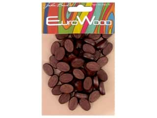 beading & jewelry making supplies: John Bead Wood Bead Flat Oval 10x15mm Mahogany