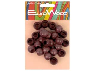 John Bead Wood Bead Euro Wood Round Large Hole 14x11mm Mahogany