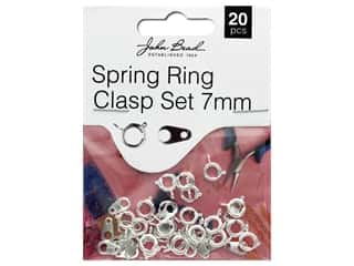 John Bead Must Have Findings Spring Ring Clasp 7mm Silver 20pc