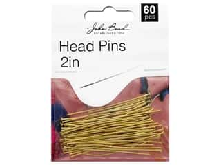 "John Bead Must Have Findings Head Pin 2"" 20g Antique Gold 60pc"
