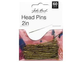 "beading & jewelry making supplies: John Bead Must Have Findings Head Pin 2"" Antique Gold 60pc"
