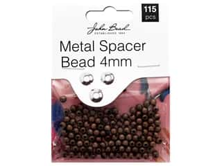 John Bead Must Have Findings Spacer Bead Metal 4mm Antique Copper 115pc