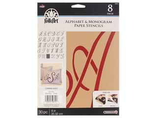 craft & hobbies: Plaid FolkArt Alphabet & Monogram Paper Stencils 8 in. Script Font
