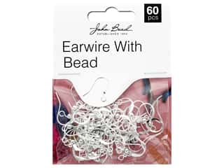 John Bead Must Have Findings Earwire with Bead Silver 60pc