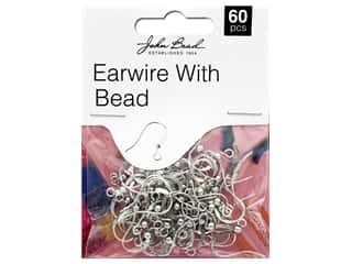 beading & jewelry making supplies: John Bead Must Have Findings Earwire With Bead Antique Silver 60pc