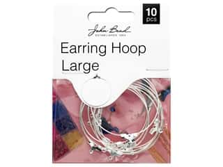 John Bead Must Have Findings Earring Hoop Large 38mm Silver 10pc